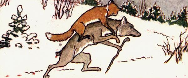Взобралась лисичка волку на спину