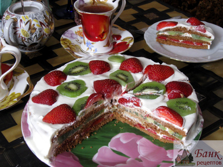 Фото фруктовый торт из готовых коржей