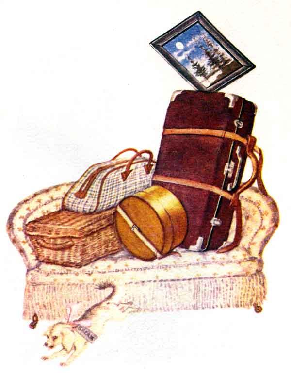 Уложен багаж: Диван, Чемодан, Саквояж, Картина, Корзина, Картонка И...
