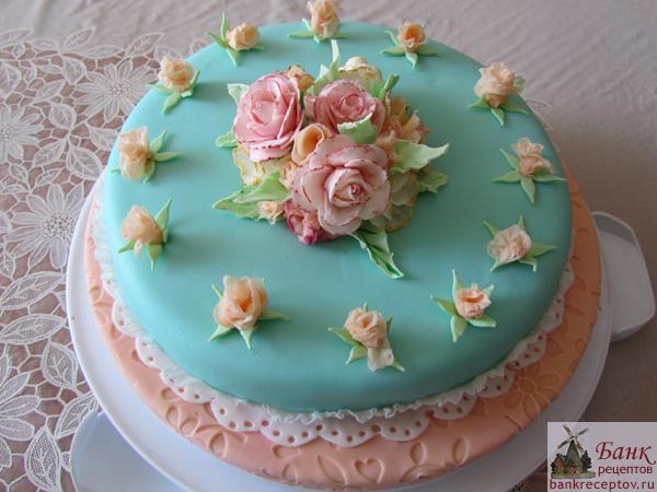 Торт из мастики розы фото